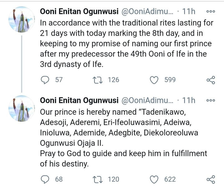 NAIJA.FM WOW! See The Name Ooni of Ife Gave His Newborn Prince Ooni of Ife